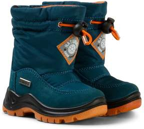 Naturino Navy and White Varna Waterproof Suede and Nylon Boots