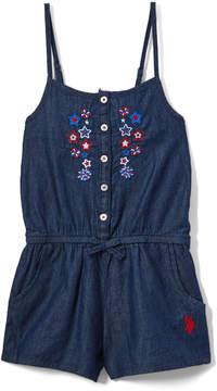 U.S. Polo Assn. Dark Blue Denim Fireworks Romper - Infant, Toddler & Girls