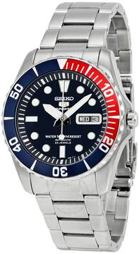 Seiko 5 Black Dial Diver Stainless Steel Automatic Men's Watch