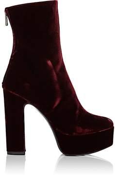 Barneys New York Women's Velvet Platform Ankle Boots