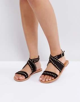 London Rebel Eyelet Trim Flat Sandals