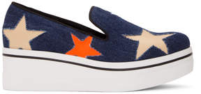 Stella McCartney Navy Denim Binx Stars Slip-On Sneakers