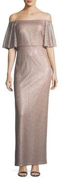 Aidan Mattox Off-the-Shoulder Short-Sleeve Metallic Evening Gown