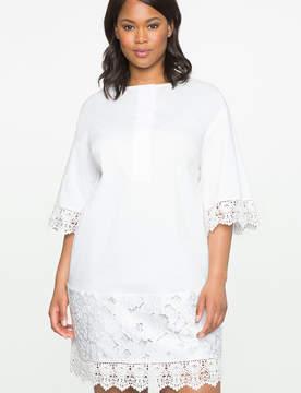 ELOQUII Lace Trim Shift Dress