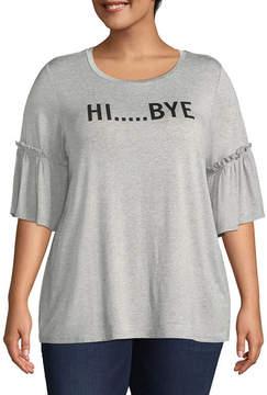Boutique + + Elbow Sleeve Scoop Neck Graphic T-Shirt - Plus