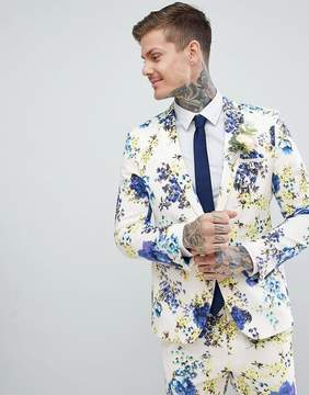 Asos DESIGN Wedding Skinny Suit Jacket In White Cotton Floral Print