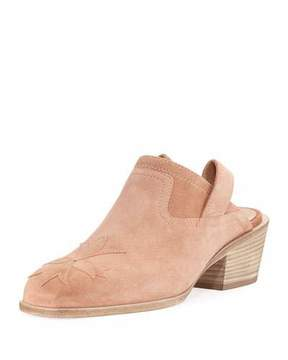 Laurence Dacade Suede Stitched Low-Heel Mule, Light Pink