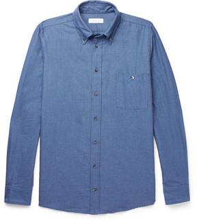 Richard James Button-Down Collar Brushed Cotton-Jacquard Shirt