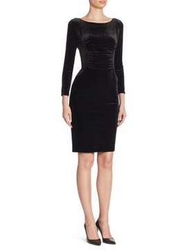 Armani Collezioni Velvet Jersey Sheath Dress
