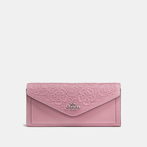 COACH SOFT WALLET IN GLOVETANNED LEATHER WITH TEA ROSE TOOLING - LIGHT ANTIQUE NICKEL/DUSTY ROSE