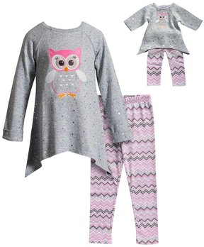 Dollie & Me Girls 4-14 Owl Top & Leggings Set