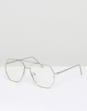 Asos Aviator Glasses With Hexagon Clear Lens