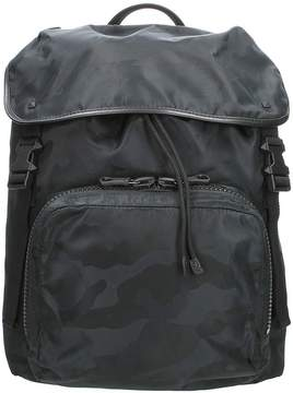 Valentino Black Technical Fabric Camouflage Backpack