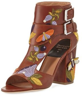 Laurence Dacade Rush Embroidered Leather Sandal, Brown