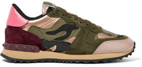 Valentino Leather And Suede-trimmed Camouflage-print Canvas Sneakers - Army green