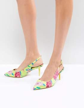 Aldo Kitten Heel Sling Back Shoe in Bright Yellow Floral