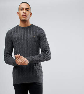 Farah TALL Lewes Twisted Marl Cable Sweater in Charcoal