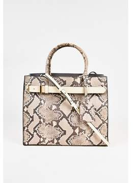 Reed Krakoff Pre-owned Cream Brown Genuine Python Leather Tote Bag.