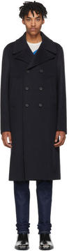 Calvin Klein Navy Wool and Cashmere Double-Breasted Coat