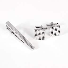 Bey-Berk Rhodium-Plated Checkered Cuff Links and Tie Bar Set
