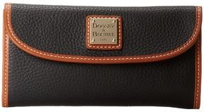 Dooney & Bourke Pebble Leather New SLGS Continental Clutch Clutch Handbags - BLACK W/ TAN TRIM - STYLE
