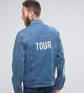 Reclaimed Vintage Inspired Oversized Denim Jacket With Tour Back Print