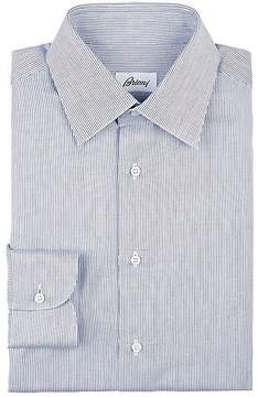 Brioni Men's Broken-Striped Woven Cotton Dress Shirt