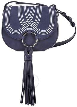 Tory Burch Tassel Mini Suede Leather Saddlebag - True Blue - ONE COLOR - STYLE