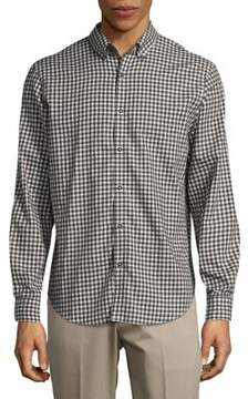 Black & Brown Black Brown Muted Checkered Button-Down Cotton Shirt