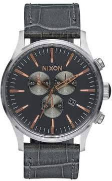 Nixon Sentry Chrono Leather A405-2145 Rose Gold/Grey Leather Analog Quartz Mens Watch