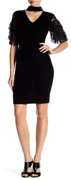 Alexia Admor Tiered Lace Sleeve Velvet Sheath Dress