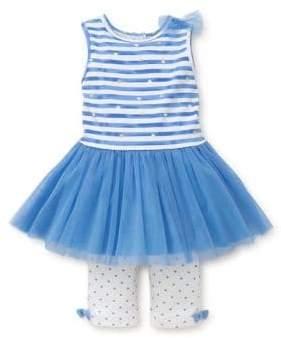 Little Me Baby Girl's Heart Striped Dress and Leggings Set