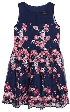 Un Deux Trois Girl's Floral Embroidered Mesh Dress