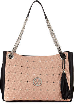 Mario Valentino Valentino By Verra D Quilted Two-Tone Leather Tote Bag
