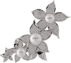 Bella Pearl Sterling Silver Penta Flower Brooch