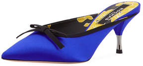 Rochas Satin Slide Mule with Bow, Blue