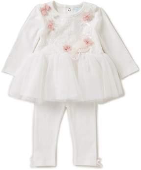 Edgehill Collection Baby Girls Newborn-6 Months Floral-Applique Tutu Dress & Leggings Set