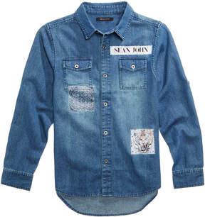 Sean John Aristocratic Patches Cotton Shirt, Big Boys
