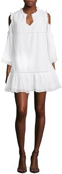 Love Sam Women's Cold Shoulder Pintuck Flounce Dress