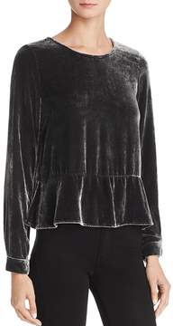 Bella Dahl Back Button-Up Velvet Peplum Top