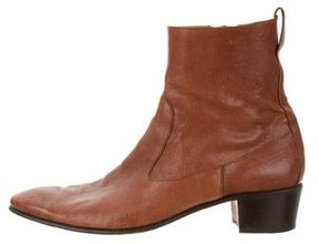 Yves Saint Laurent Leather Round-Toe Ankle Boots