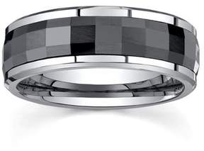 Armani Exchange Jewelry 8mm Mens Disco Faceted Ceramic Band in Tungsten Carbide