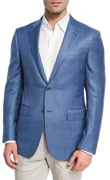 Ermenegildo Zegna Check Two-Button Sport Coat, Blue/White