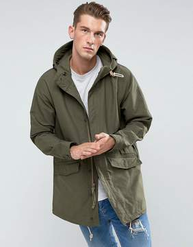 Abercrombie & Fitch Hooded Parka Cotton/Nylon in Olive