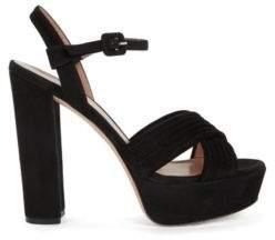 HUGO BOSS Suede Platform Sandal Scarlett Platform S 8 Black