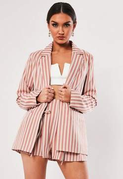 Missguided Nude Stripe Co Ord Button Front Tailored Blazer