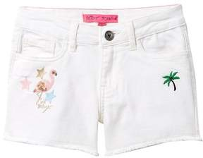 Betsey Johnson Patched Jean Shorts with Fringe Hem (Big Girls)