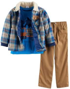 Nannette Boys 4-7 3-pc. Plaid Jacket