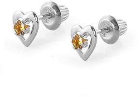 Ice 14K White Gold Citrine Heart Earrings For Girls