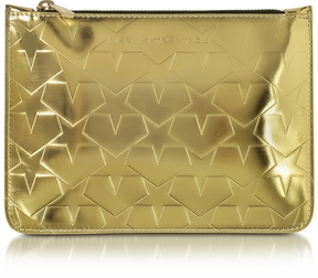 Mary Katrantzou Laminated Gold Leather Pouch w/Stars